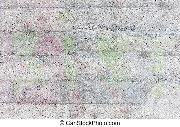 vägg, konkret, ridit ut, struktur