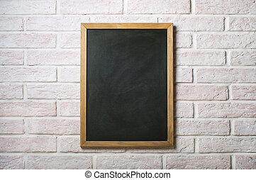 vägg, krita, vita tegelsten, bord