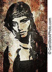 vägg, kvinna, graffiti