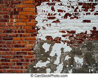 vägg, måla, tegelsten, gammal, vit
