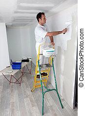 vägg, målning, man