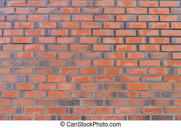vägg, mönster, struktur, bakgrund., tegelsten, röd