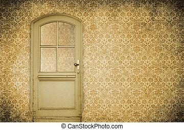 vägg, med, gammal, dörr