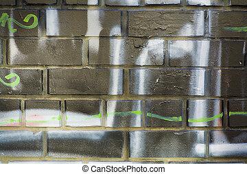 vägg, med, graffiti