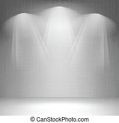 vägg, med, spotlight