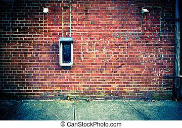 vägg, med, telefonautomat