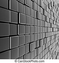 vägg, metall, silver