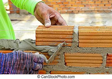 vägg, mortel, skapa, arbetare, murslev, cement, tegelsten