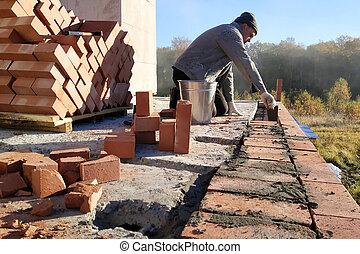 vägg, murslev, användande, kapten, cement, väggmålning, tegelsten, mortel