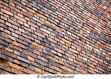 vägg, perspective., tegelsten