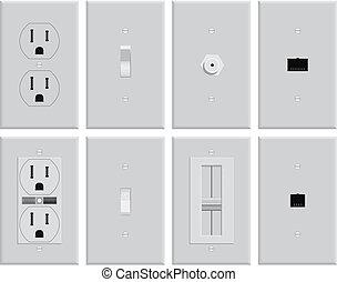 vägg, pläterar, elektrisk