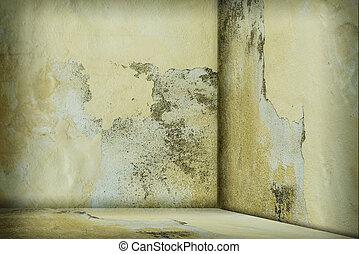 vägg, rum, tom, smutsa ner