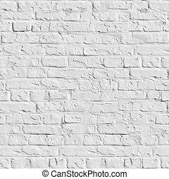 vägg, -, seamless, texture., vita tegelsten