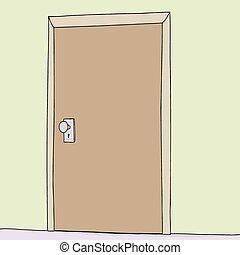 vägg, singel, dörr