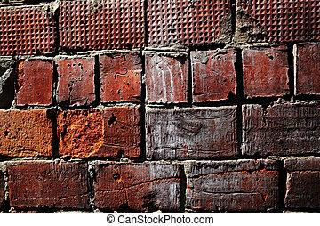 vägg, skadat, tegelsten