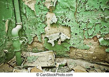vägg, skalande, piparen, gammal