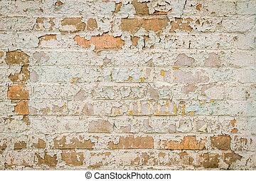 vägg, skalande, tegelsten, gammal, måla