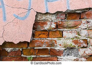vägg, skalande, tegelsten, paint., struktur
