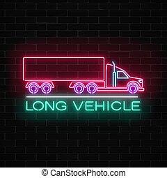 vägg, skylt, neon, länge, underteckna, bakgrund., glödande, gods, fordon, tegelsten, truck., glöd