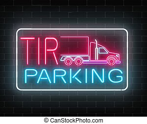 vägg, skylt, parkering, neon, tir, underteckna, bakgrund., glödande, lastbil, långt fordon, tegelsten, truckers., glöd