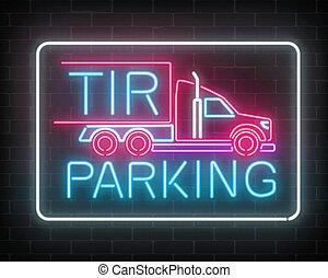 vägg, skylt, parkering, neon, tir, underteckna, mörk, bakgrund., glödande, lastbil, långt fordon, tegelsten, truckers., glöd