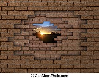 vägg, solnedgång