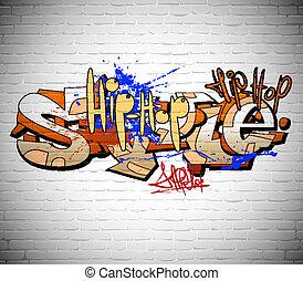 vägg, stads- graffiti, bakgrund, konst