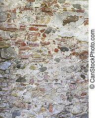vägg, sten, cement