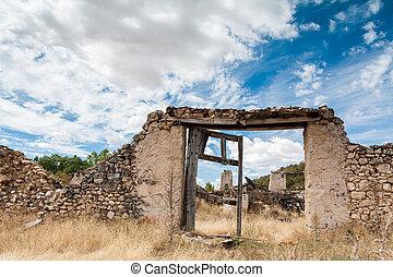 vägg, sten, forntida, dörr