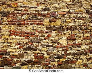 vägg, sten, gammal