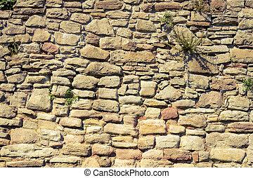 vägg, sten, gjord, gammal