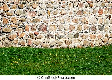 vägg, sten, gräsmatta, bakgrund