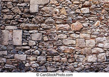 vägg, sten, medeltida, bakgrund