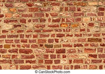 vägg, sten, tegelsten