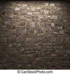 vägg, sten, upplyst