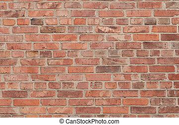 vägg, stor, tegelsten, gammal, röd