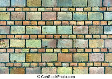 vägg, struktur, gammal, tegelsten, bakgrund