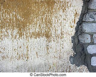 vägg, tegelsten, 2, gammal