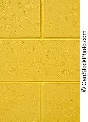 vägg, tegelsten, bakgrund, vertikal, gul