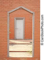 vägg, tegelsten, dörr, försedd med diagonallinjer, &