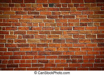 vägg, tegelsten, fläckat, gammal, ridit ut