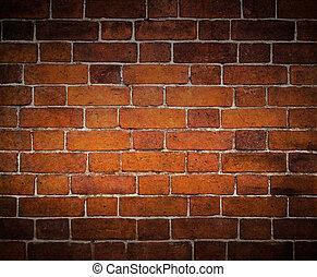vägg, tegelsten, gammal, bakgrund
