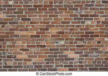 vägg, tegelsten, gammal