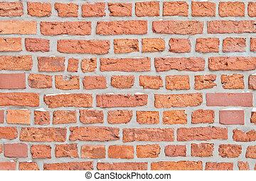 vägg, tegelsten, gammal, röd fond