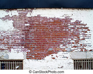 vägg, tegelsten, gammal, ridit ut, lager