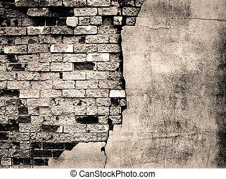 vägg, tegelsten, gammal, specificera