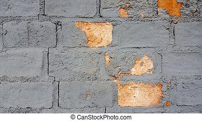 vägg, tegelsten, gammal, struktur