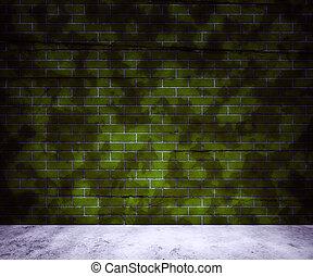 vägg, tegelsten, grön fond, smuts
