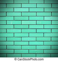vägg, tegelsten, grön fond, struktur