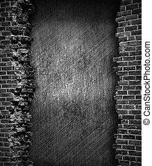 vägg, tegelsten, grunge, bakgrund